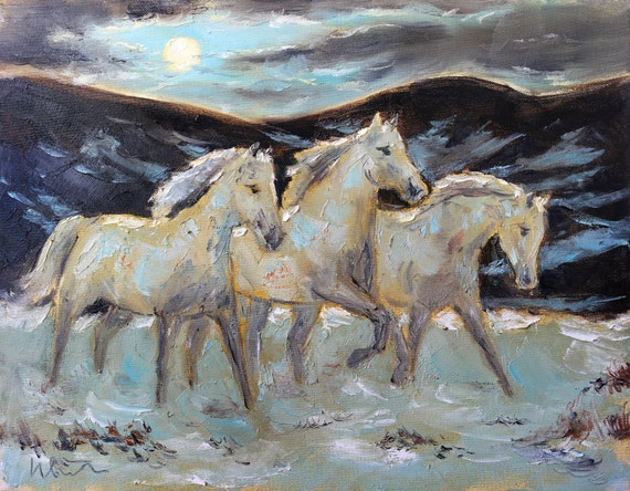 White Horses Art Print Moon Wall Art Painting Print Horse | Etsy