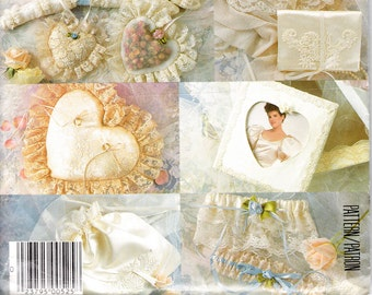 Vintage McCall's Sewing Pattern 805 Bridal Accessory Package Factory Folded Uncut Garter Ring Pillow Drawstring Bag Hankie