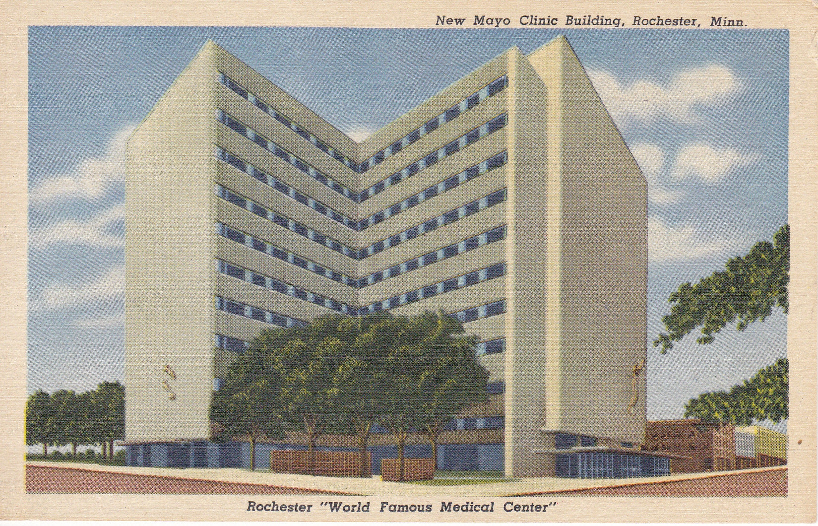 New Mayo Clinic Building 1950's Postcard Rochester Minnesota World Famous  Medical Center Unussed