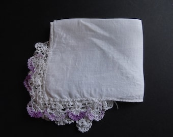 Ivory Hankie with Purple Hand Embroidered Edging Estate Sale 1950's Shabby Chic