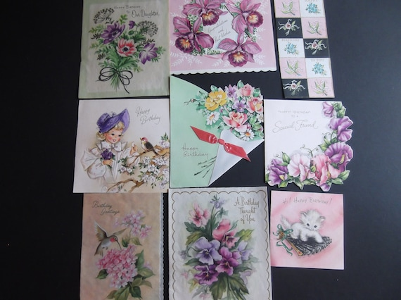 Vintage Used Birthday Cards 1950's Estate Sale Collectible Front Covers Mixed Media Crafts Shabby Chic Nine (9)