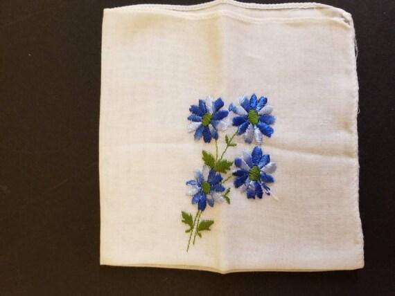 Machine Embroidered Blue Floral Hankie 1950s
