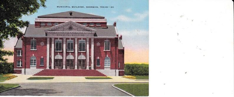 Municipal Building Sherman Texas Unused Divided Back Postcard