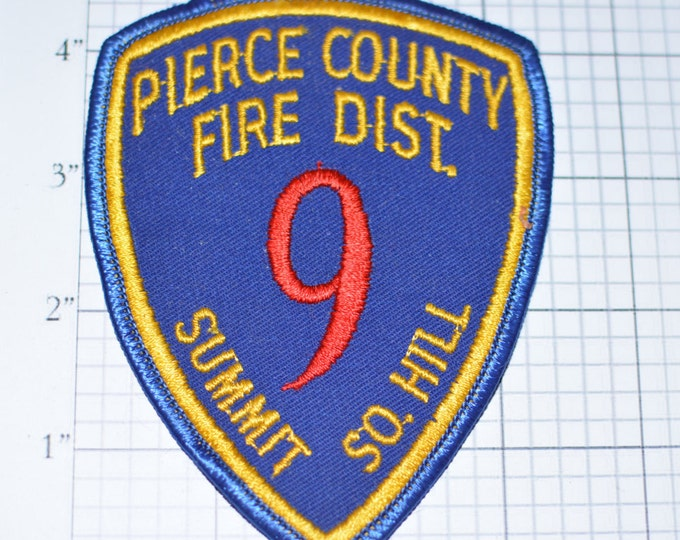 Pierce County Fire District Summit South Hill District 9 - Washington State WA - Sew-On Vintage Embroidered Uniform Patch Jacket Patch  fd7