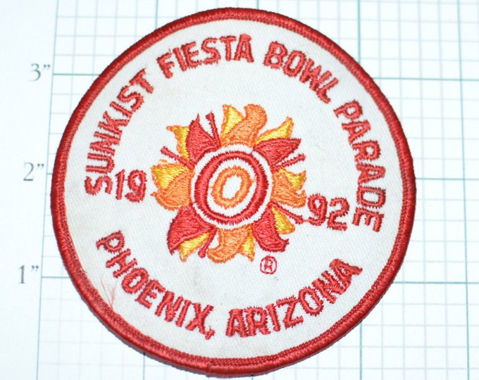 Sunkist Fiesta Bowl Parade 1992 Phoenix Arizona Vintage Embroidered Iron-On Patch Football Jacket Patch Shirt Patch Hat Patch AZ e10a