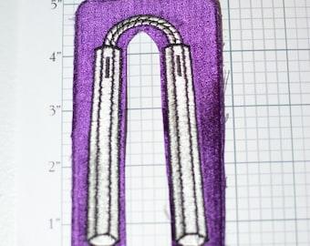 Nunchaku Nunchucks Sew-On Vintage Patch White on Purple Danger Sticks Chuka Chainsticks Juan-Tao Jacket Patch Vest Patch Martial Arts f1j