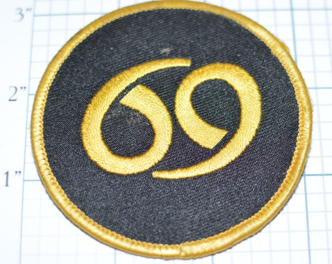 "Gold 69, 3"" Diameter, Vintage Iron-on Embroidered Clothing Patch Biker Motorcycle Jacket Vest Shirt Emblem Zodiac Cancer Astrology s8"