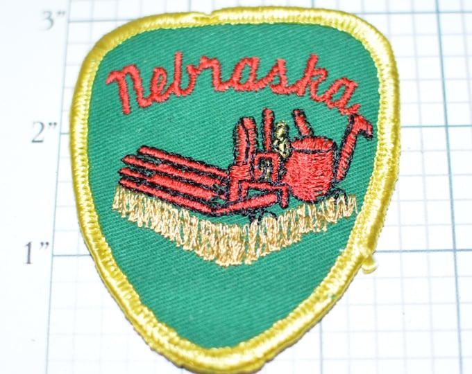 NEBRASKA Plains States Farming Combine Harvest Travel Souvenir Sew-On Vintage Embroidered Clothing Patch Trip Keepsake Gift Idea Agriculture