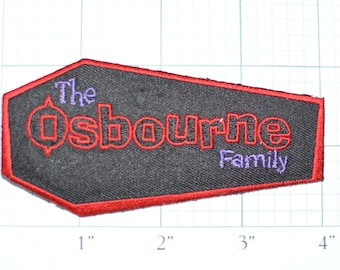 The OSBOURNE Family - Coffin Patch Rare Iron-On Patch Licensed Ozzie Sharon Jack Kelly Jacket Patch Vest Patch Collectible Memorabilia e10b