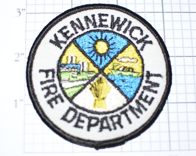 Kennewick Washington State WA Fire Department - Rare Sew-On Embroidered Vintage Patch *Limited Stock*  fd4
