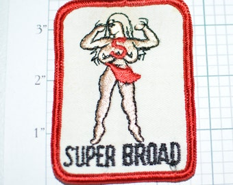 SUPER BROAD Sew-on Vintage Embroidered Clothing Patch 1970s Retro Adult Sexy Naughty Topless Woman Flexing Muscles Funny Novelty Emblem
