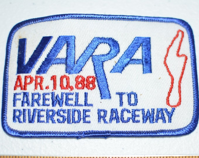 VARA Farewell to Riverside Raceway California Iron-On Vintage Racing Patch Jacket Patch Jeans Patch Backpack Patch Embroidery Applique e3