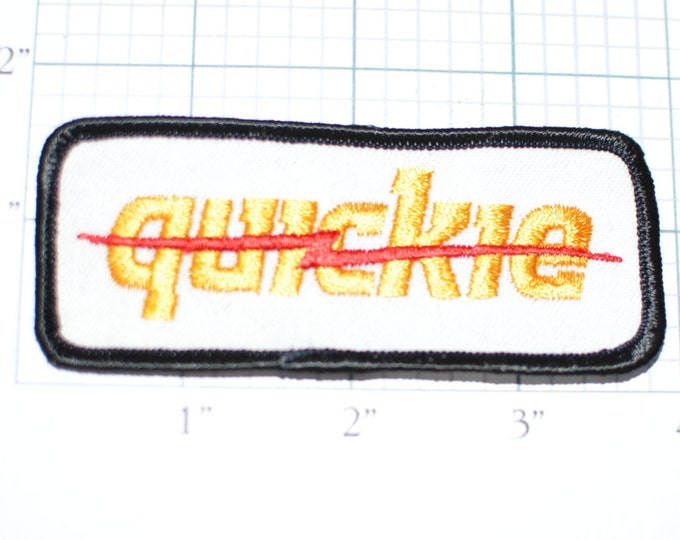 QUICKIE Vintage Sew-On Embroidered Patch Yellow Text Red Lighting Bolt Jacket Patch Shirt Patch Hat Patch Vest Patch Clothing Patch e10d
