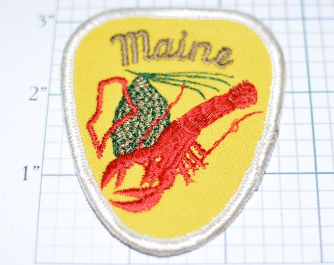MAINE Lobster Travel Souvenir Sew-On Vintage Clothing Patch United States Northeast Bar Harbor Gift Idea Collectible Tourist Keepsake e2