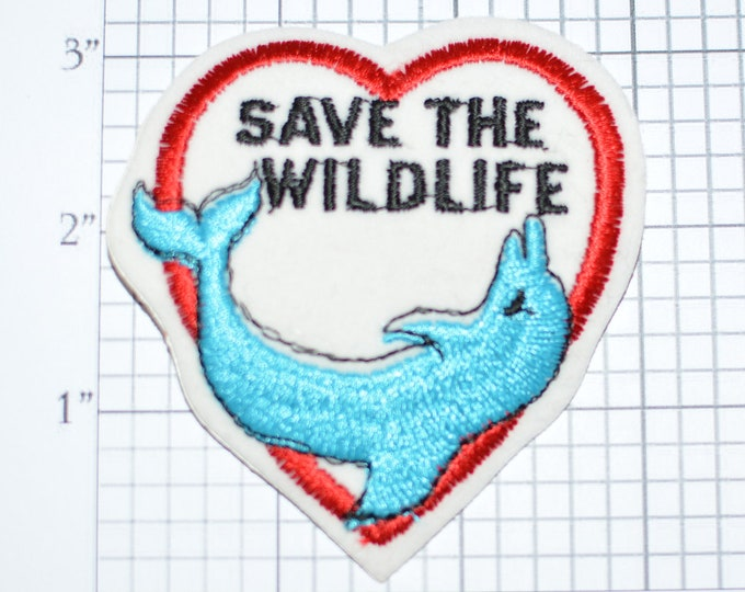 Save The Wildlife Dolphin Heart Vintage Sew-on Patch Embroidered Clothing Patch Jacket Patch Hat Patch Shirt Patch Animals Conservation e21h