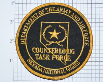 RARE Department of the Army and Air Force Nevada National Guard Counterdrug Task Force Sew-On Vintage Military Uniform Jacket Patch e20u