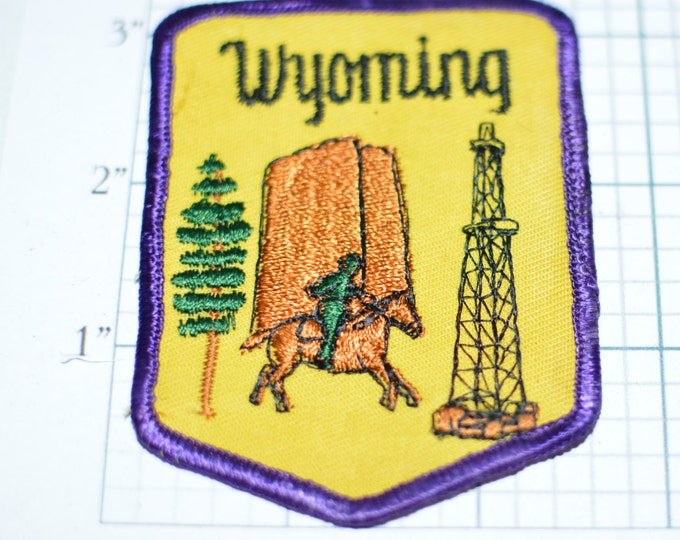 WYOMING Devil's Tower Cowboy Oil Gas Rig Derrick Drilling Travel Souvenir Cody Jackson Yellowstone Grand Tetons Sew-On Vintage Patch s8