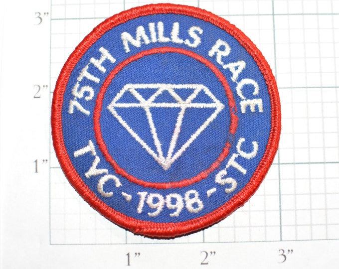75th Mills Trophy Race Toledo Yacht Club (TYC) 1998 Iron-On Embroidered Clothing Patch Diamond Logo Emblem Award Boating Boat Racing Sewn s1