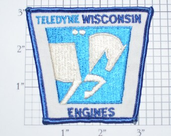 Teledyne Wisconsin Engines Sew-On Vintage Embroidered Patch Uniform Patch Shirt Patch Jacket Patch Company Collectible Souvenir e22d