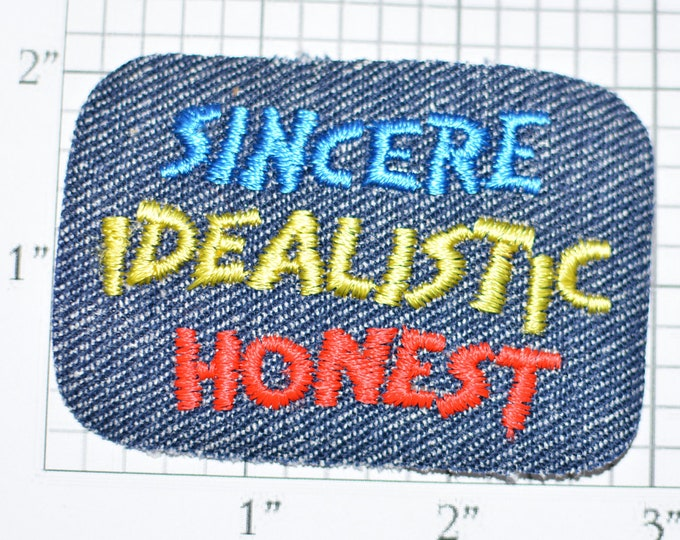 """Sincere Idealistic Honest """"Positive Traits"""" Vintage Patch Iron-On Patch Embroidered Patch Jacket Patch Jeans Patch Backpack Patch e21g"""