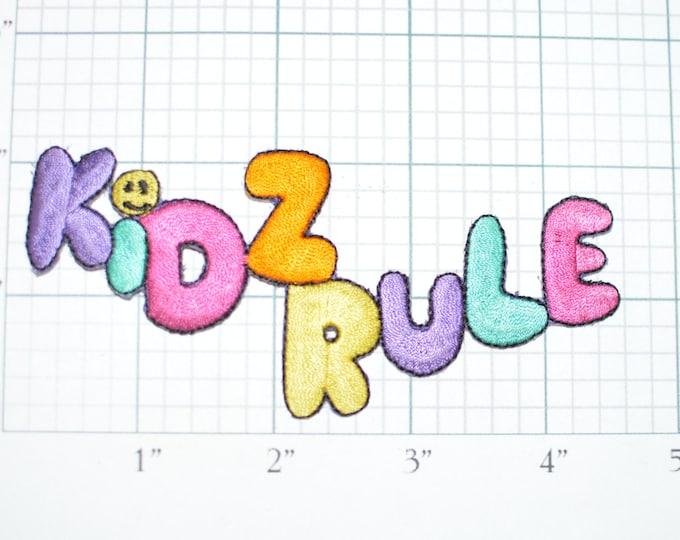 KIDZ RULE - Iron-on Vintage Patch - Colorful Fun Unique Jacket Patch Vest Patch Shirt Patch Backpack Patch Kids Children Babies Applique e2b