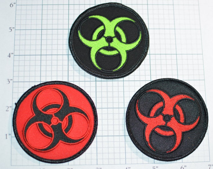 """Biohazard Patch, 3"""" Embroider Iron-on Patch Applique, Biker Motorcycle Zombie Patch Apocalypse Jeans Patch Jacket Patch Backpack Patch 1 2 4"""