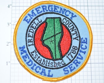 Iredell County North Carolina NC Emergency Medical Services - Rare Sew-On Embroidered Vintage Patch Uniform EMS EMT *Limited Stock* fd4