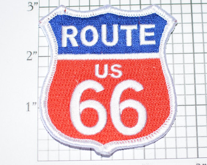US ROUTE 66 Iron-On Biker Patch Red, White and Blue Jacket Patch Jeans Patch Backpack Patch Vest Patch Motorcycle Patch Travel Patch oz2