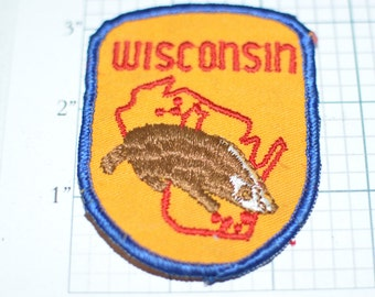 Wisconsin Sew-On Vintage Travel Patch Souvenir Brown Badger Variant Milwaukee Madison Green Bay Jacket Patch Vest Patch Backpack Patch e2