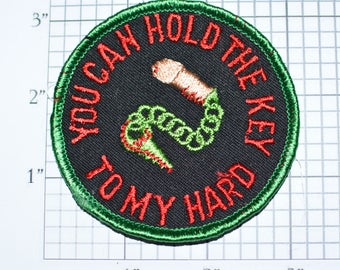 You Can Hold The Key To My Hard (Heart Parody) Sew-On Vintage Embroidered Clothing Patch Funny Naughty Adult Penis Erection Chastity Cage