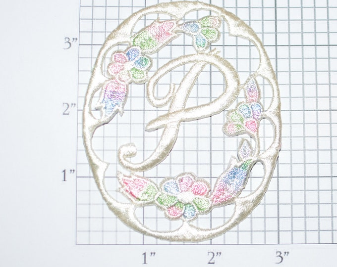 Fancy Letter P Cursive Flowers Iron-On Applique Embroidered Patch Insignia Backpack Patch Jeans Patch Shirt Patch Clothing Patch Emblem e21g