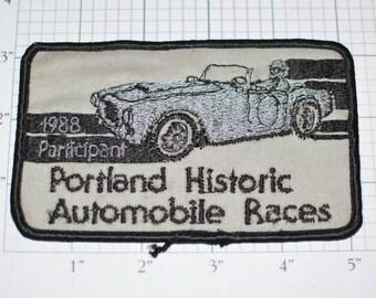 Portland Historic Automobile Races 1988 Participant RARE Iron-On Vintage Patch e9g Annual Racing Festival Classic Cars Event