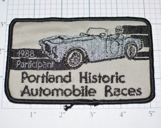 Portland Historic Automobile Races 1988 Participant RARE Iron-On Vintage Patch e9g Annual Racing Festival Classic Cars Event
