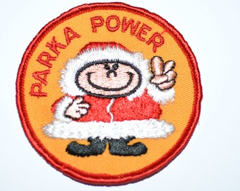 "Parka Power, Girl in Snowgear Funny Icebreaker Rare 3"" Sew-On Vintage Patch Jacket Patch Coat Patch Backpack Patch *Limited Stock* s9"