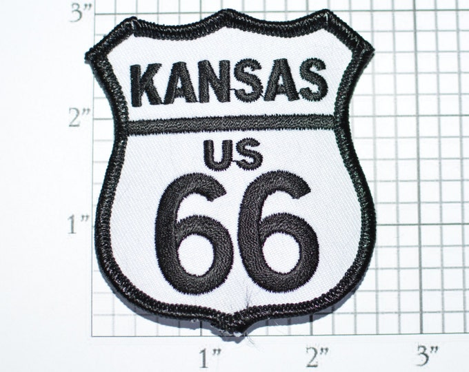 Kansas US ROUTE 66 Iron-On Biker Patch Black on White Jacket Patch Jeans Patch Backpack Patch Vest Patch USA Travel Patch Road Sign oz2