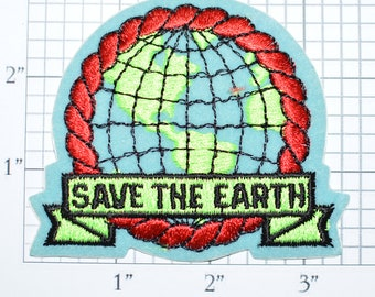 Save The Earth Authentic Vintage Sew-on Patch Embroidered Clothing Patch Jacket Patch Hat Patch Shirt Patch Animals Conservation e21h