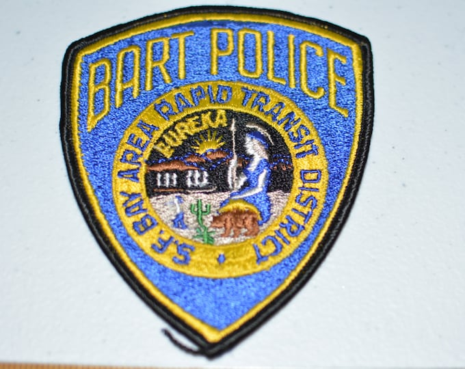BART POLICE Iron-On Vintage Embroidered Uniform Shoulder Patch San Francisco Bay Area Rapid Transit District Officer Eureka Seal California