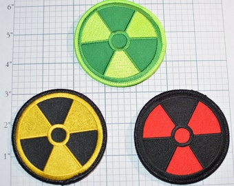 Radiation Radioactive Iron-on Clothing Patch Nuclear Power Plant Atomic Fallout Xray Technologist Costume Cosplay Symbol Biker Jacket Vest