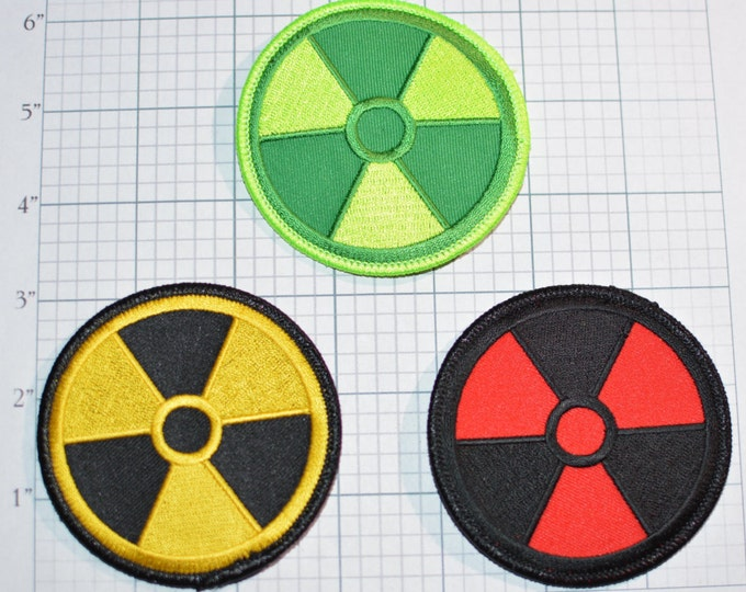 """Radiation Fallout 3"""" Iron-on Embroidered Patch Nuclear Power Plant Atomic Fallout Xray Technologist Costume Cosplay Symbol Biker Jacket Vest"""