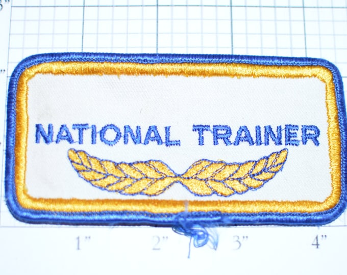 National Trainer - Vintage Uniform or Shirt Iron-On Name Patch Embroidered Clothing Patch  e17m