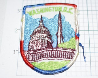 WASHINGTON D.C. Red White Blue Border Capitol RARE Government America Monument Congress President Sew-On Vintage Travel Patch Souvenir DC e2