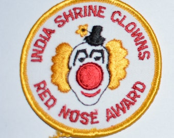 RARE India Shrine Clowns Red Nose Award Iron Vintage Embroidered Clothing Patch Jacket Patch Jeans Patch Backpack Patch Applique e23o