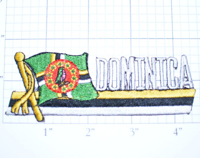 Dominica Flag Iron-On Vintage Travel Patch - Rare *Only 1 Available*  e18c
