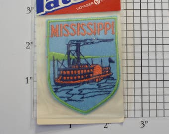 Mississippi Steamboat Voyager Iron-On Vintage Patch Original Packaging Travel Patch Souvenir Jacket Patch Vest Patch Backpack Patch e20r