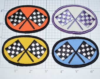 Racing Checkered Flag - Vintage Sew-On Patch - Oval (Choose Color) Orange Blue Purple Yellow Race Winner *Limited Stock*  e17i