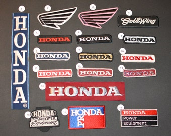 Honda Vintage Embroidered Clothing Patch Applique for Motorcycle Biker Jacket Vest Shirt Hat Gold Wing Pink Pro Powerful Equipment Gift Idea
