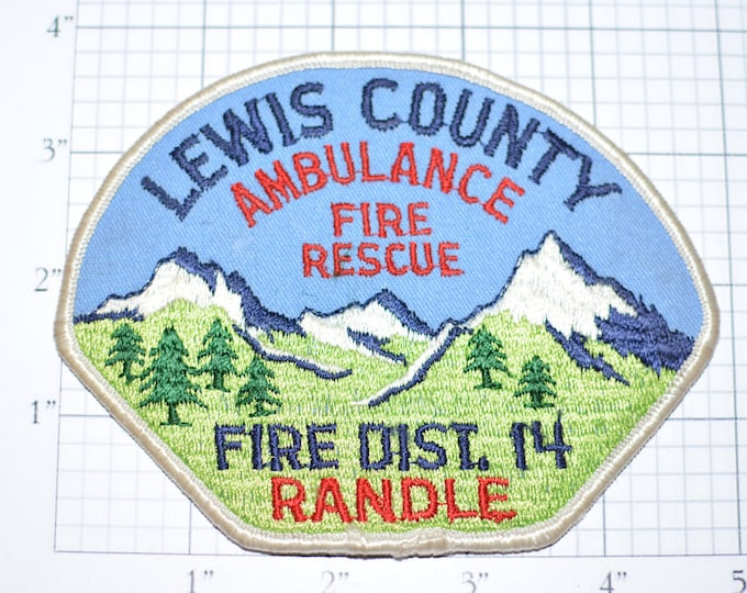 Lewis County Washington Fire District 14 Randle Ambulance and Fire Rescue - Rare Sew-On Vintage Patch Uniform Shoulder *Very few in stock