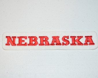 NEBRASKA Red Iron-On Vintage Sleeve Patch Travel Souvenir Jacket Patch Vest Patch Backpack Patch Omaha Lincoln Hastings Bellevue s12