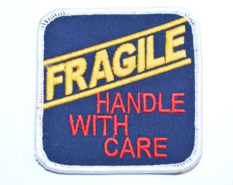 Fragile Handle With Care Cute Iron-on Embroidered Clothing Patch for Jean Jacket Backpack Shirt Hoodie DIY Baby Clothes Infant Toddler Child