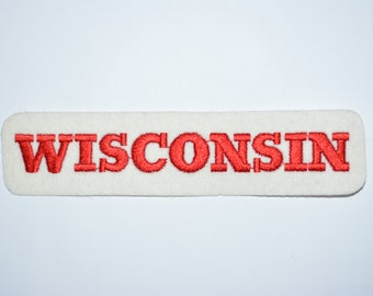 Wisconsin Red Iron-On Vintage Sleeve Patch Travel Patch Souvenir Green Bay Milwaukee Jacket Patch Vest Patch Backpack Patch Collectible s11